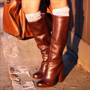 Nine West Magic Brown Leather Knee High Boots 7